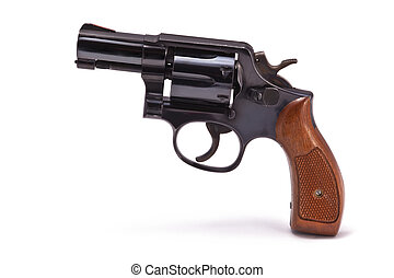 A photo of snub nose revolver isolated on a white background. This handgun was a standard issue weapon for police detectives for many years.