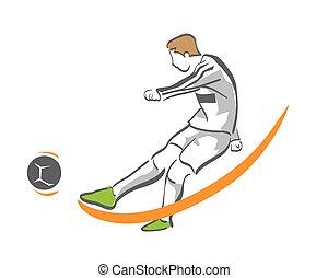 Modern Soccer Player In Action Logo Goal Kick