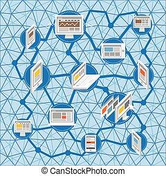 Modern social media network concept