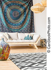Modern sofa and ethnic tissue