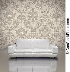 Modern sofa damask wallpaper - Modern white leather sofa in...