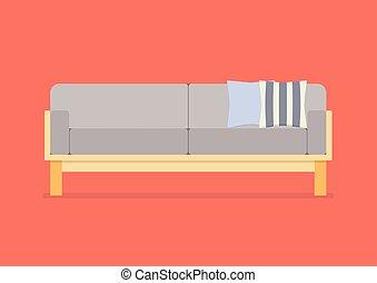 Modern sofa flat style. Vector Illustration