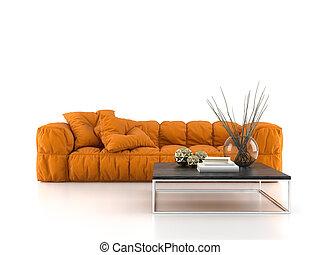modern, sofa, freigestellt, weiß, hintergrund, 3d, übertragung