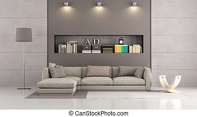 Modern sofa in a contemporary livingroom - modern sofa in a...