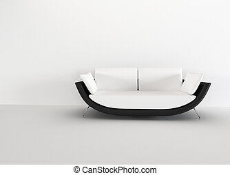 Modern sofa in in a bright empty living room - rendering....