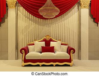 modern, sofa, in, königlich, inneneinrichtung