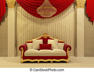 modern sofa in royal interior