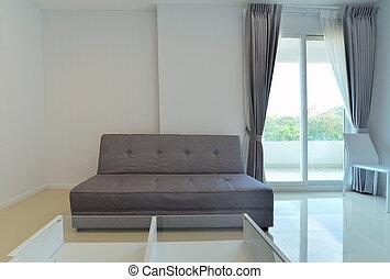 Wohnzimmer, sofa, modern, dekoration, design, weißes, stuhl Stock ...