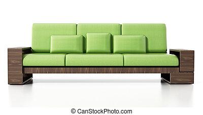 Modern sofa isolated on white background. 3D illustration