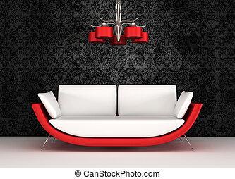 Modern sofa with chandelier in luxurious interior
