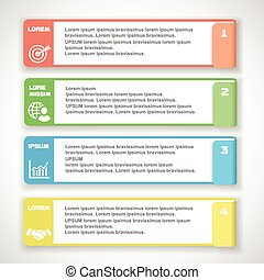 Modern soft color Design template for infographics, numbered banners, horizontal cutout lines for graphic or website. Vector