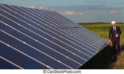 Modern solar energy station in the field.
