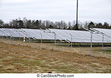 Modern Solar Farm - Series of solar panels in a huge field