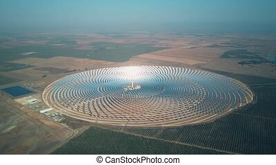 Modern solar power station with tower, aerial view - Aerial...