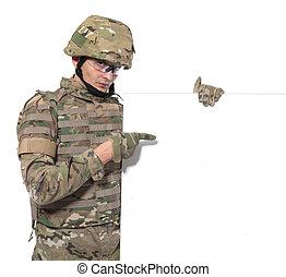 modern, soldat, besitz, a, plakat