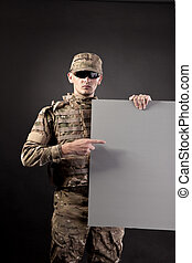 modern, soldat, gleichfalls, besitz, a, plakat