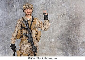 Modern soldier with gun
