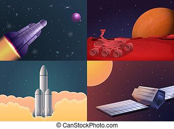 Modern space research technology banner set, cartoon style