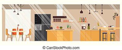 Modern Spacious Kitchen Vector Interior Design - Modern...