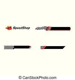Modern Speed Race Flag Banner Background Logo