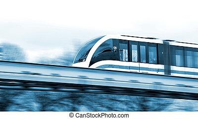 Modern speed train on a way.