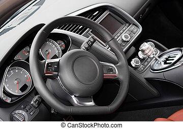 modern, sportkocsi, belső