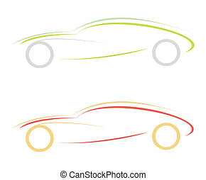 Modern sports car. Can be used as logotype (logo). Stylized illustration on white and black background. Emblem, design element.