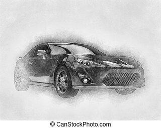 Modern sports car - pencil drawing