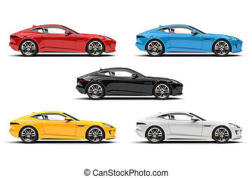 Modern sports concept cars in red, blue, yellow, black and white