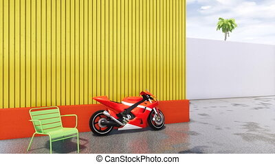 No people modern cityscape with bright red sports motorbike parked near yellow wall and wet asphalt road after rain. Copy space at the final of clip. 3D animation rendered in 4K