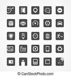 Modern square web icons collection
