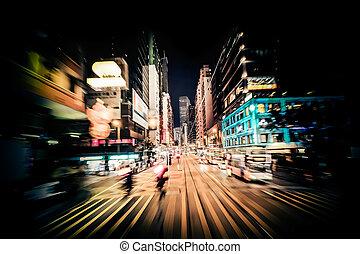 modern, stadt, bewegung, blur., hong, kong., abstrakt, cityscape, verkehr, hintergrund