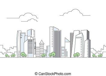 modern, stadt, megalopolis, ansicht, wolkenkratzer, cityscape