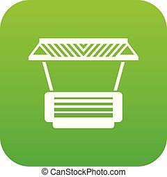 Modern stall icon green vector