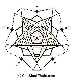 Modern Star Pentagon Design Tattoo Vector Image