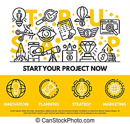 Modern startup concept background, outline style