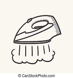 Modern steam iron hand drawn sketch icon.