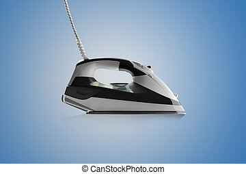 Modern steam iron side view isolated on blue background
