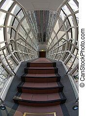 Modern steel and glass corridor