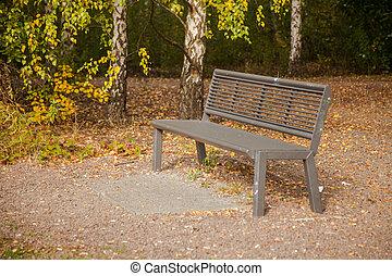 Modern steel bench in the park