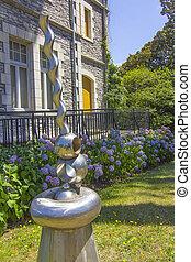 Modern steel sculpture by chrome