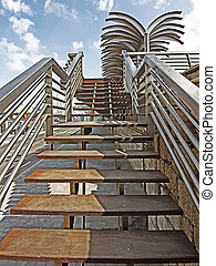 modern steel staircases and wood