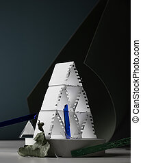Modern still life, conceptual art: card pyramid from white paper, glass sticks, leaf on curved background, minimal colours.