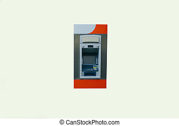 Modern street ATM machine for withdrawal of money and other financial transactions isolated on white background.