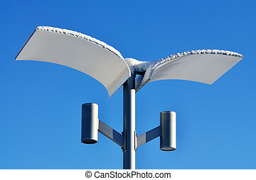 Modern street lamp in winter