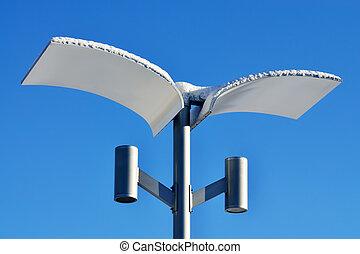 Modern street lamp in winter