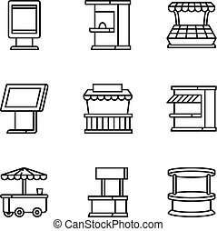 Modern street shop icon set, outline style