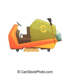 Modern street sweeper truck, waste processing and utilization cartoon vector Illustration