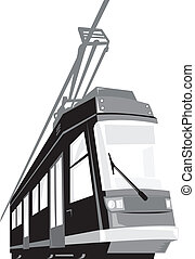 Modern Streetcar Tram Train - Illustration of a modern ...