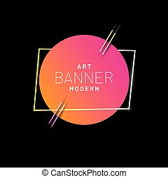 Modern style abstract banner with bright neon lines and frame for headline. Vector background.